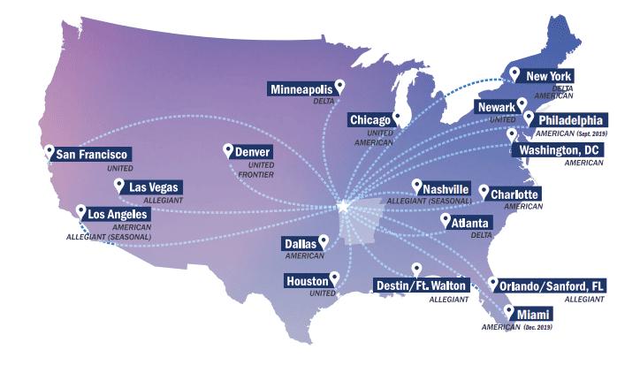 XNA Flight Destination Map
