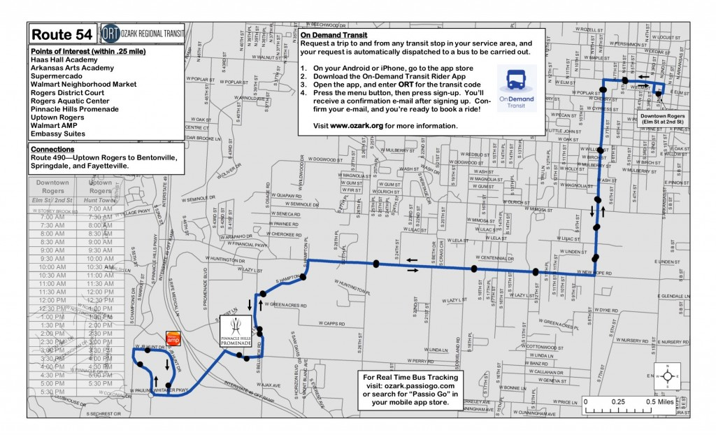 Downtown to Uptown Rogers, AR Bus Route